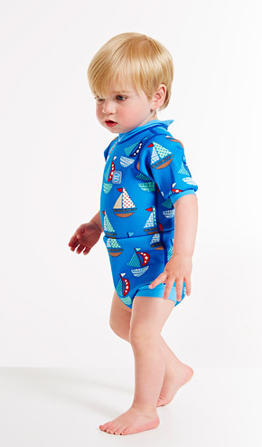 Happy Nappy Wetsuit - boat print