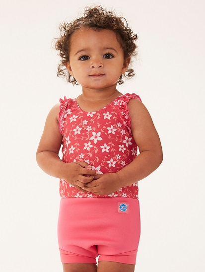 Flower Print Swim Nappy Costume